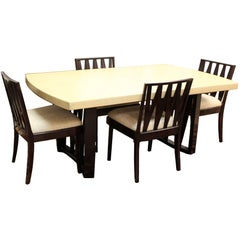 Mid-Century Modern Paul Frankl Cork Top Mahogany Dining Set Table Four Chairs