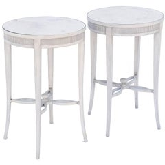 Pair of Painted Occasional Tables with Mirrored Tops