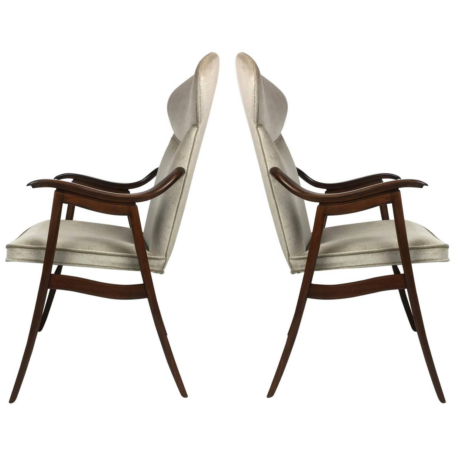 Set of Four Walnut Dining Chairs Attributed to Edward Wormley for Dunbar