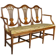 Continental Hepplewhite Fruitwood Chairback Settee