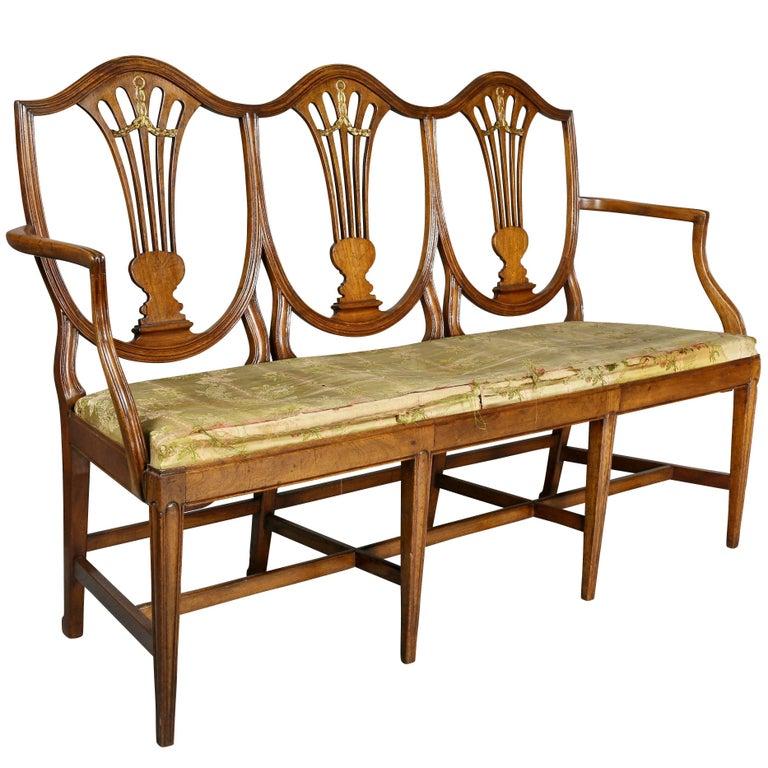 Continental Hepplewhite Fruitwood Chairback Settee