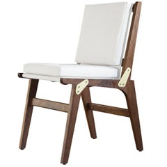 OFS Dining Chair with White Canvas Upholstery and Coach Leather Strapping