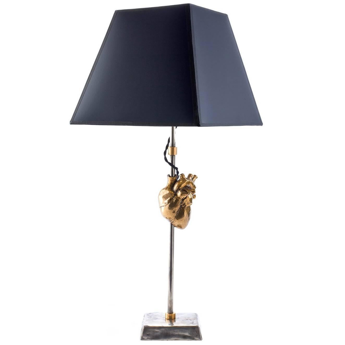 Contemporary Sculptural Table Lamp with Cast Bronze Heart by Vivian Carbonell