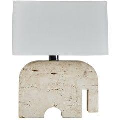 Travertine Elephant Table Lamp by Fratelli Manelli