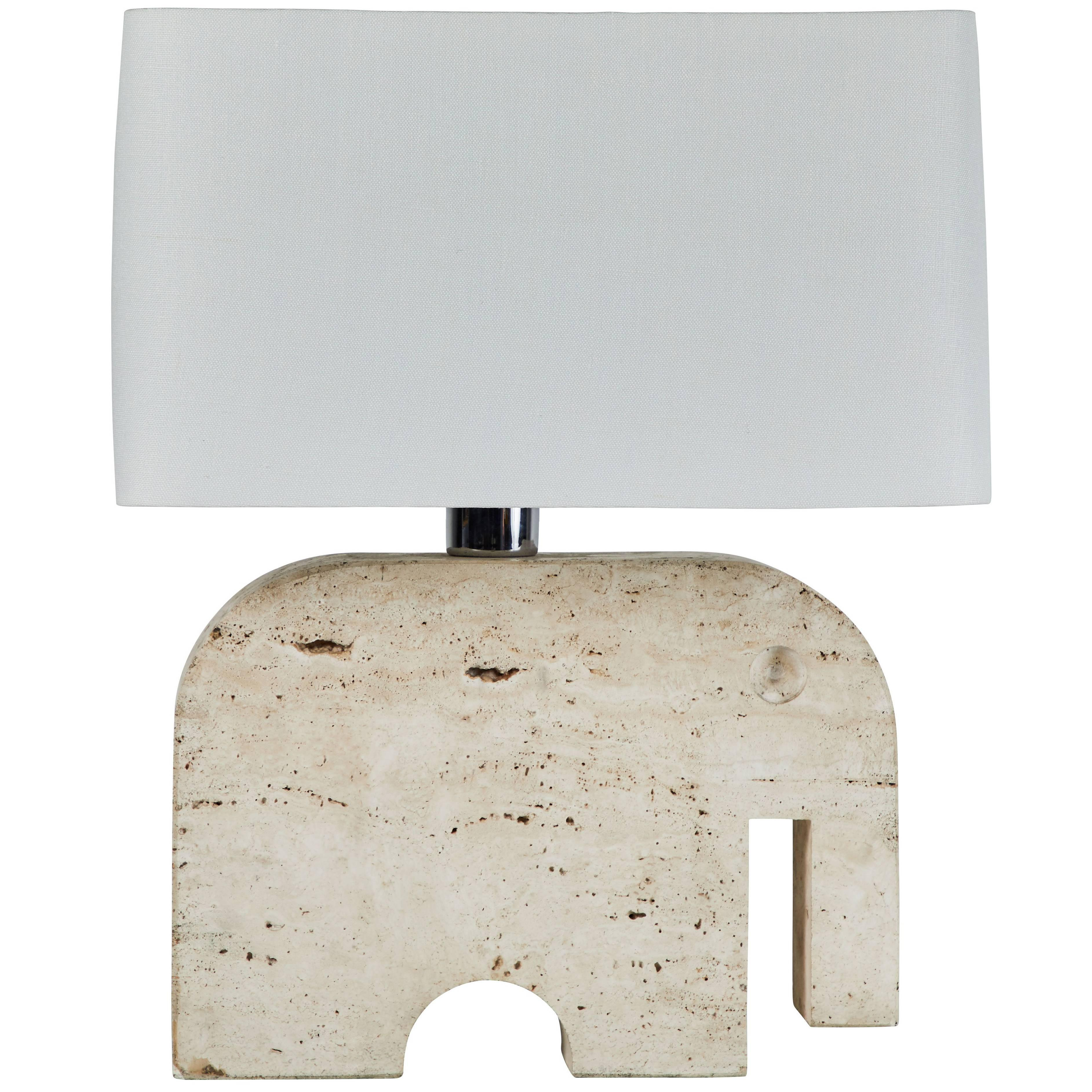 Travertine Elephant Table Lamp By Fratelli Manelli For Sale