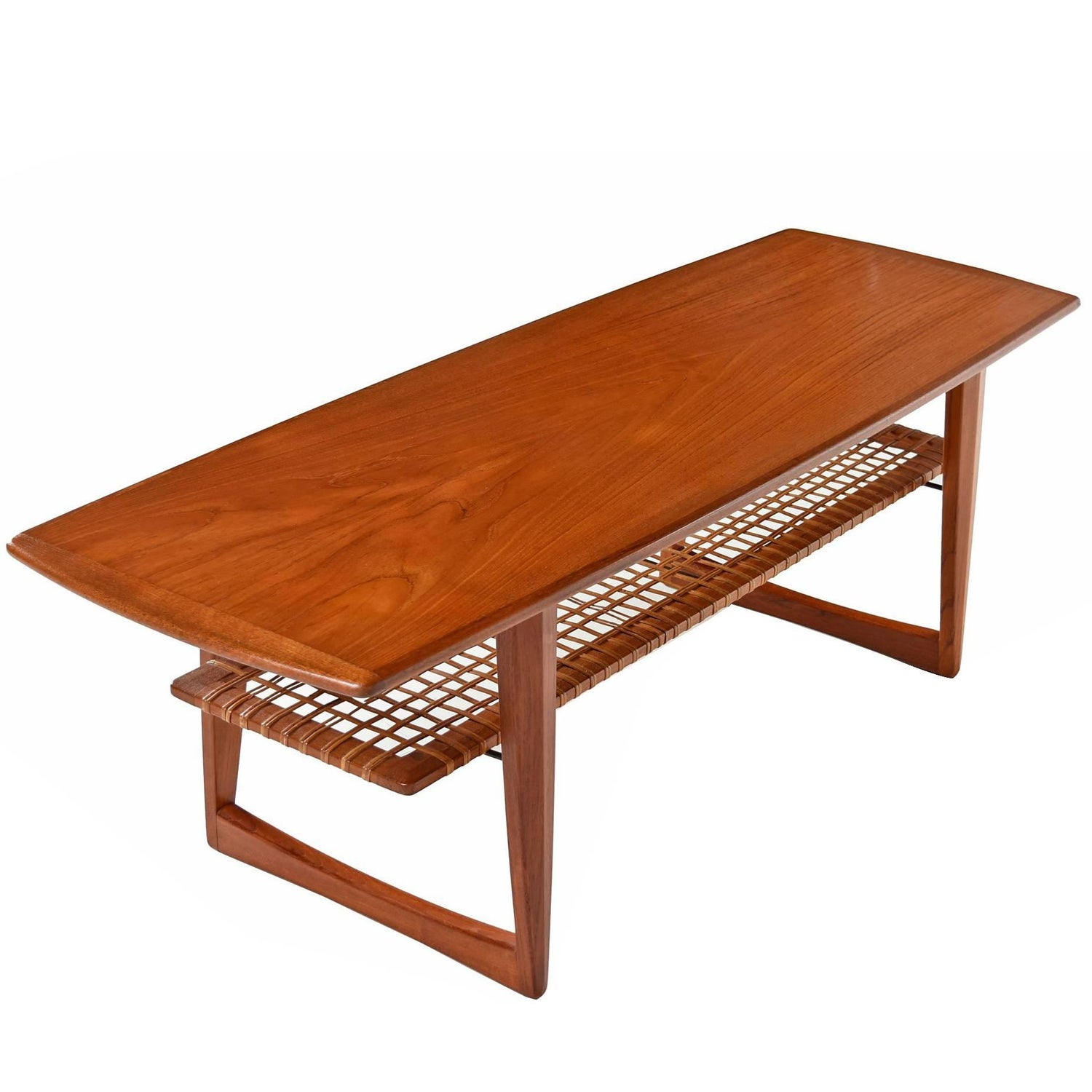 Danish Teak B¸rge Mogensen Style Coffee Table with Cane Bottom
