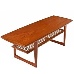 Danish Teak Børge Mogensen Style Coffee Table with Cane Bottom Magazine Rack