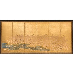 Japanese Six-Panel Screen: Field of Wheat by River's Edge