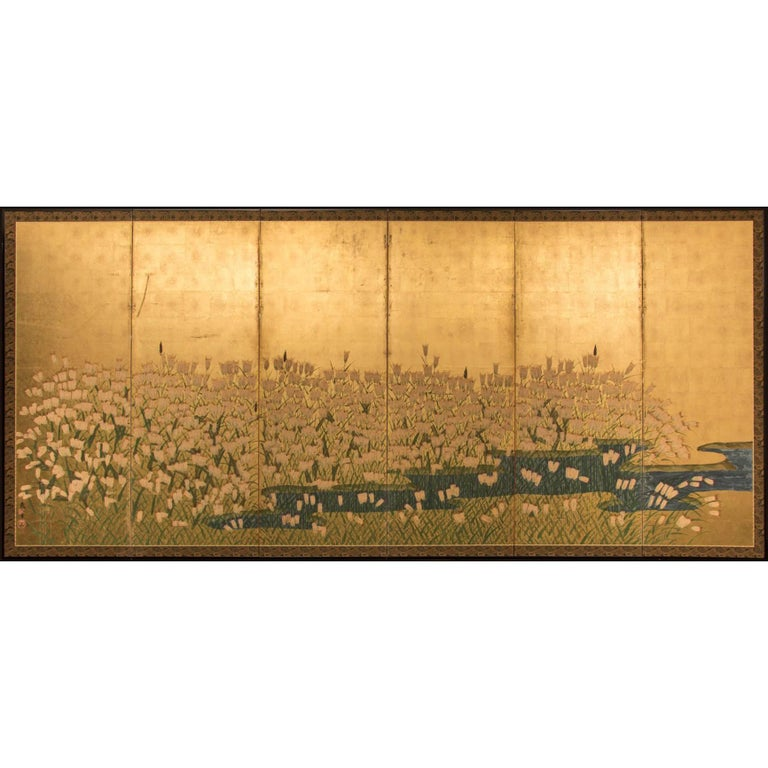 Japanese Six Panel Screen Field of Wheat by River's Edge