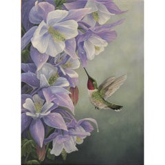 """After the Rain"" Ruby Throated Hummingbird Painting by Anna Widmer"