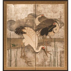 Japanese Two-Panel Screen, Family of Storks at River's Edge
