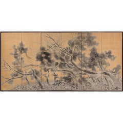 Japanese Six-Panel Screen: Late Autumn Pine and Crescent Moon