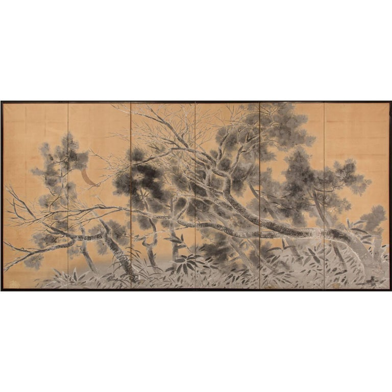 Japanese Six-Panel Screen: Late Autumn Pine and Crescent Moon For Sale