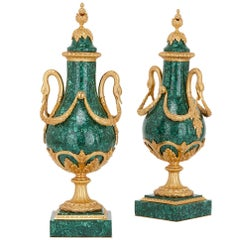 Pair of Neoclassical Style Gilt Bronze and Malachite French Vases