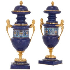Pair of Gilt Bronze Mounted Lapis Lazuli and Champlevé Enamel Antique Vases