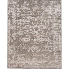 21st Century Contemporary Abstract Gray/Silver Indian Rug