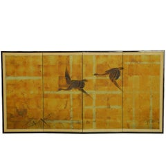 Japanese Four-Panel Byobu Screen Autumn Geese