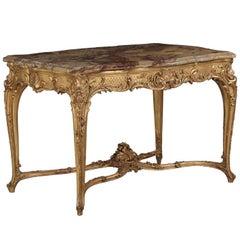 Louis XV Style Giltwood Marble-Top Center Table, Paris, circa 1880