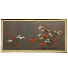 Japanese Four Panel Byobu Screen of Flowers