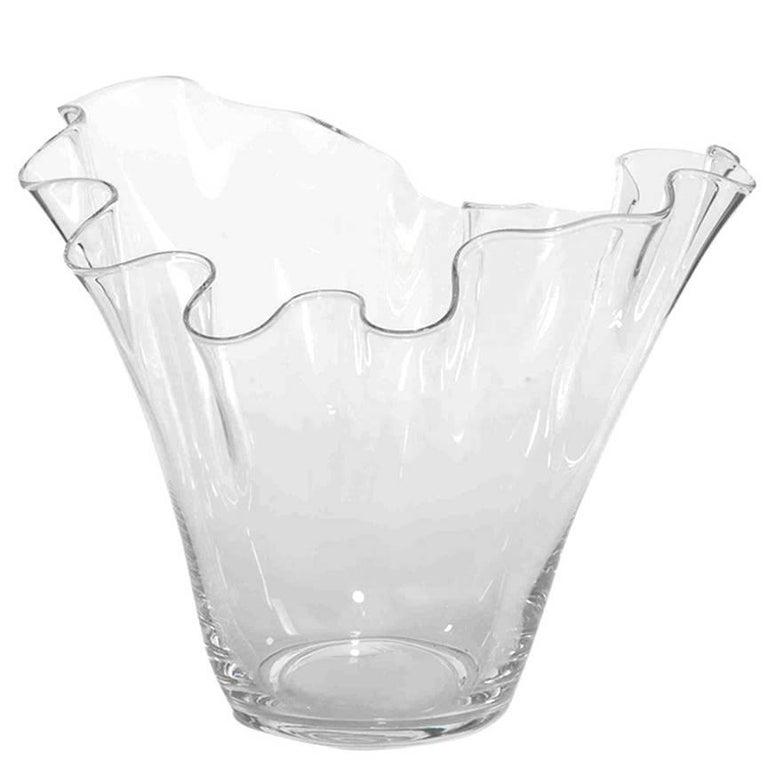 Large Belgian Handblown Glass Free-Form Agrelle Vase
