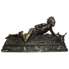 "French Bronze Sculpture ""Crouching Native American Indian"" E. Drouot"