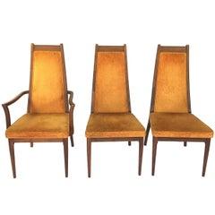 John Keal for Brown Saltman High Back Dining Chairs, Set of Six