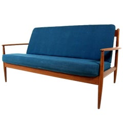 Vintage Teak Framed Two-Seat Sofa Designed by Grete Jalk for France & Daverkosen