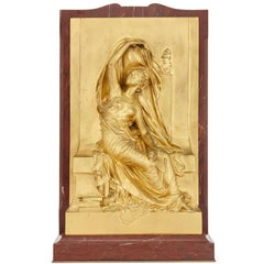 'La Pensée', French Antique Relief Panel in Ormolu and Red Marble by Chapu