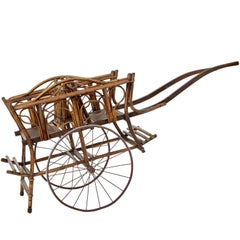 Early 20th Century Bamboo Two-Seat Child Carriage