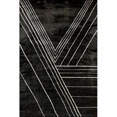 Black Hand Knotted Viscose Linear Geometric Rug
