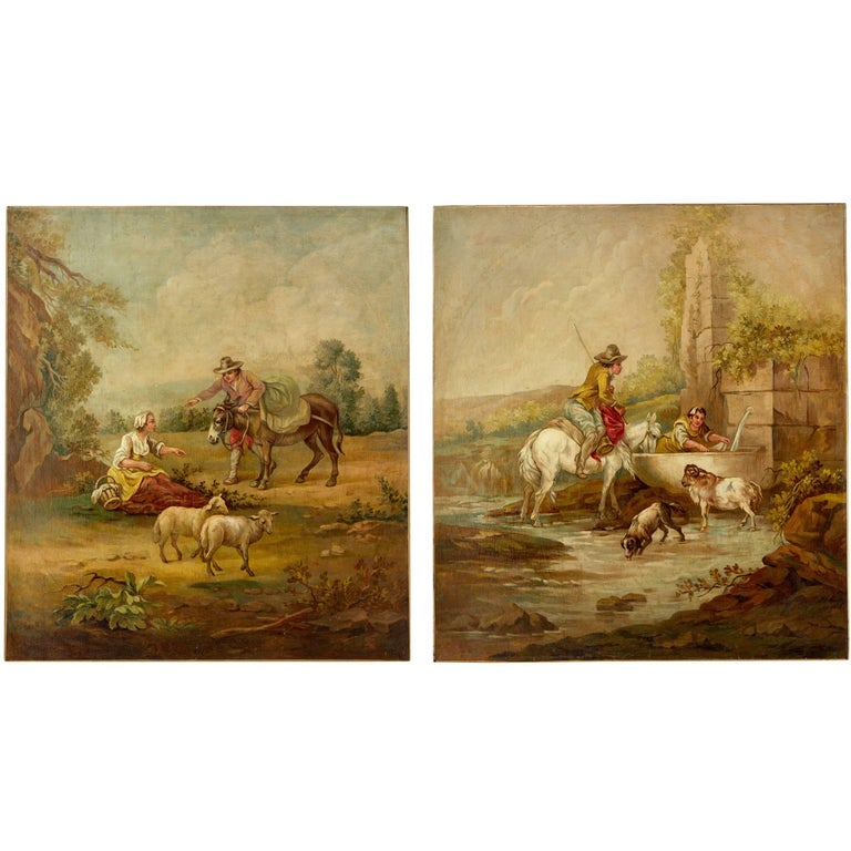 Pair of Rural Late 19th Century Oil on Canvas Paintings For Sale