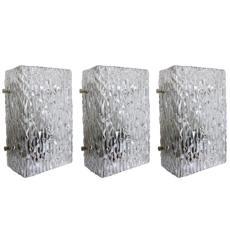Set of Three Textured Ice Glass Wall Lights Sconces by J.T. Kalmar Austria 1960s