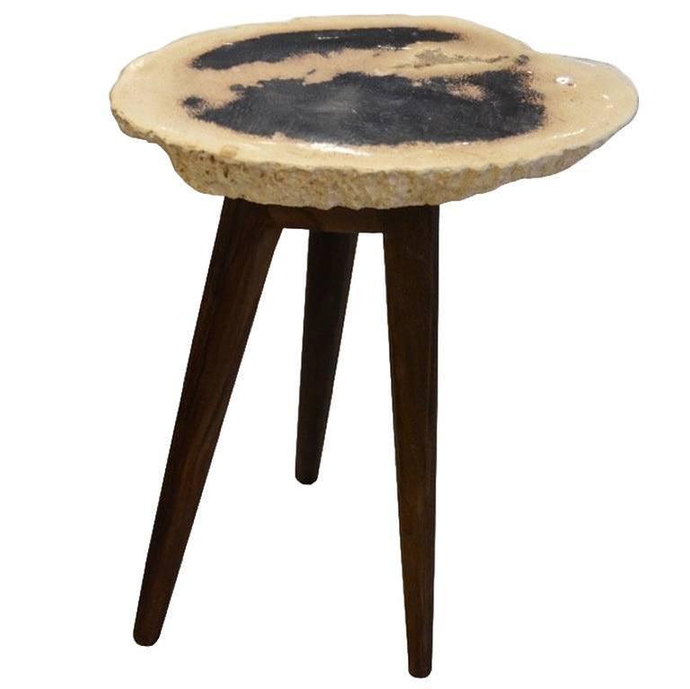 Andrianna Shamaris Palm Petrified Wood Side Table
