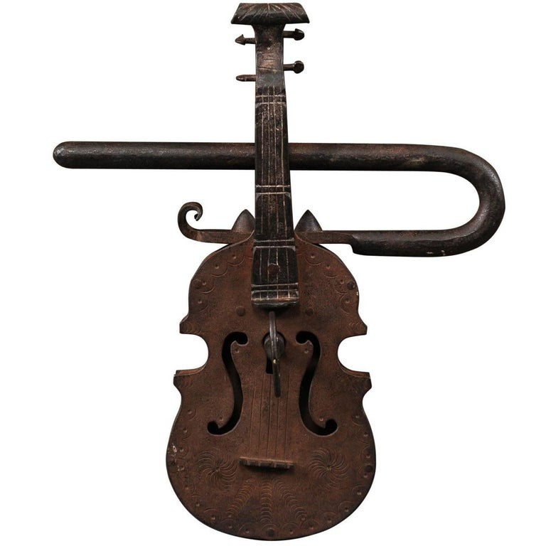 Late 18th-Early 19th Century Iron Gate Lock in the Form of a Violin, Continental