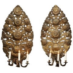 Pair of Large French Renaissance Style Three-Light Sconces, 18th Century