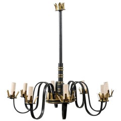 Iron and Gilt Chandelier in Style of Gilbert Poillerat, 20th Century