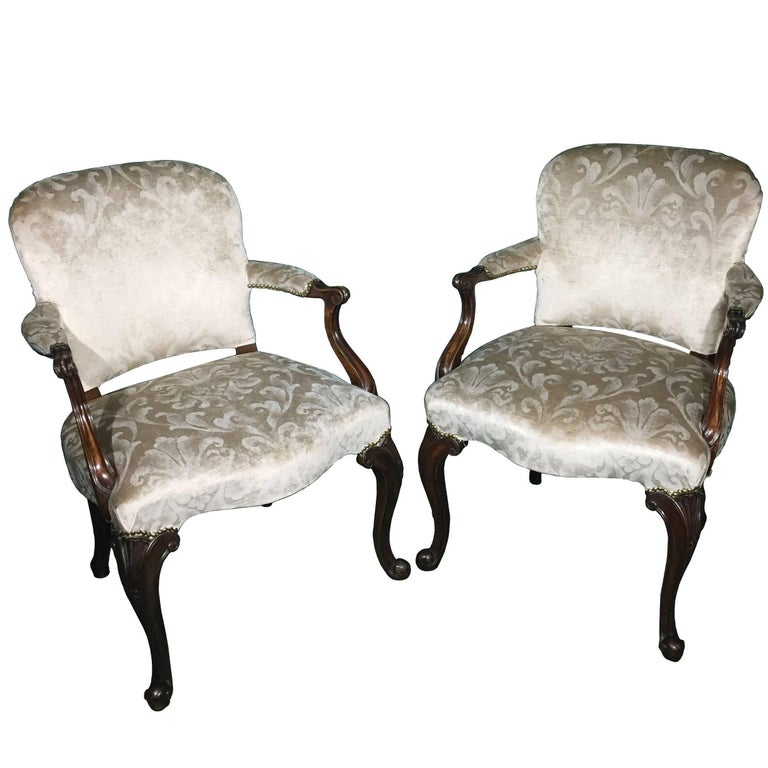 Superb Pair of Victorian Antique Mahogany Chairs, 1880 For Sale at 1stdibs