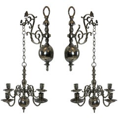 Pair of English Silver Wall Chandelier