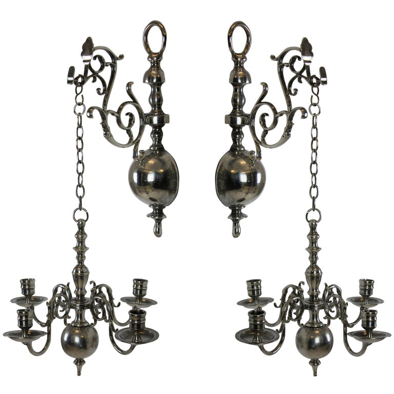 Pair of English Silver Wall Chandelier 1