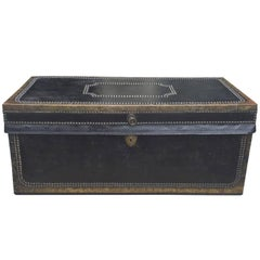 English Regency Leather Covered Camphor Wood Trunk, circa 1820-1840