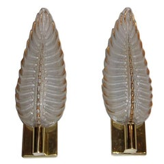 Pair of Molded Glass Sconces