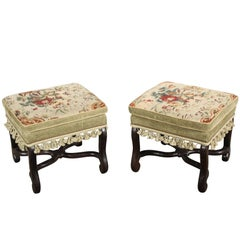 Pair of 18th Century Tapestry Covered Benches