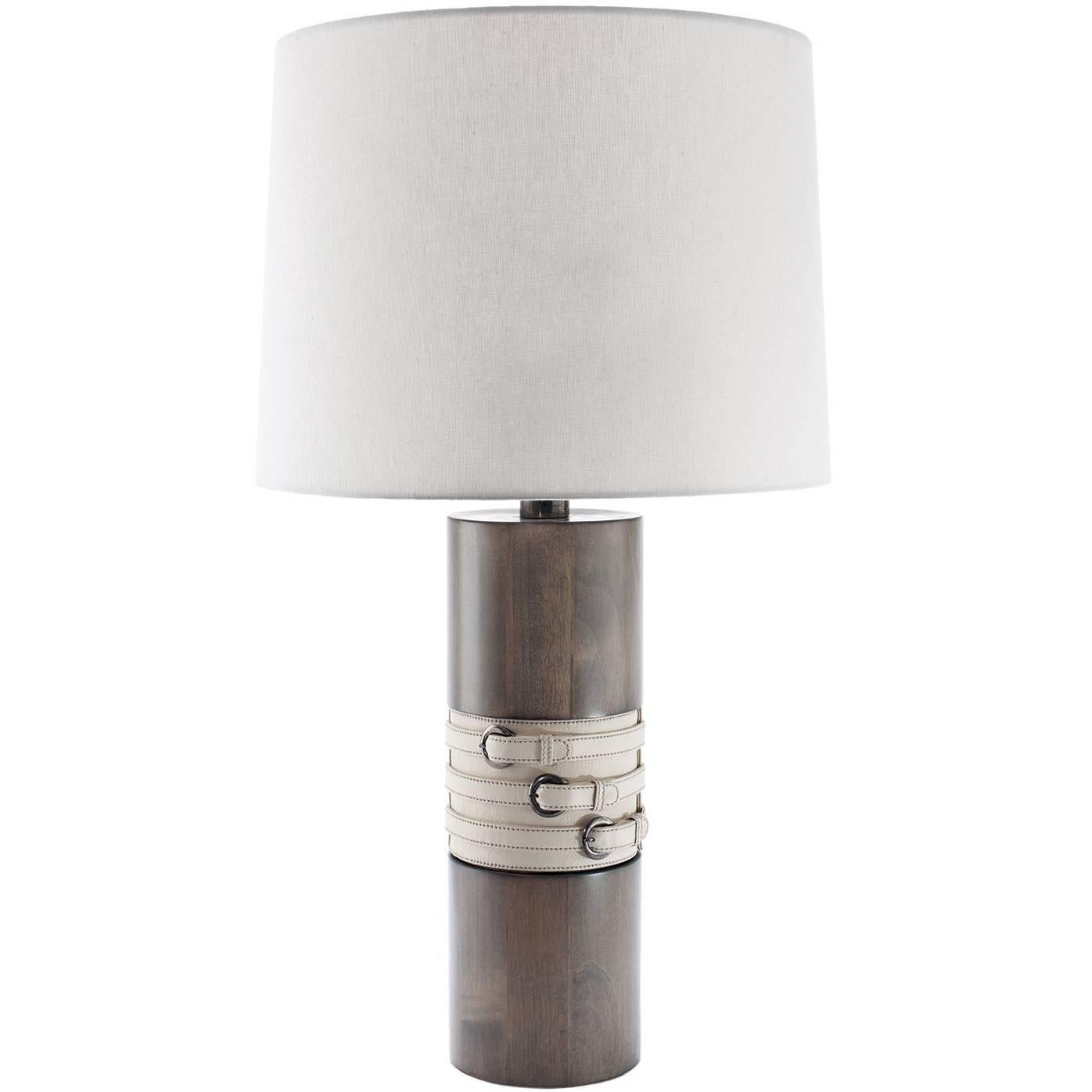 Anouk Table Lamp in Wood with Leather Detail by Carbonell Design