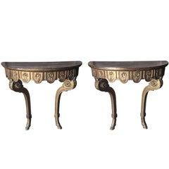 Pair of 19th Century Louis XVI Demilune Consoles