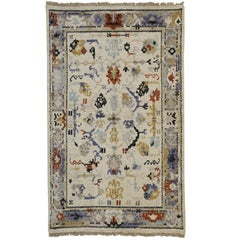 Transitional Blue and Cream Oushak Rug with Modern Traditional Style