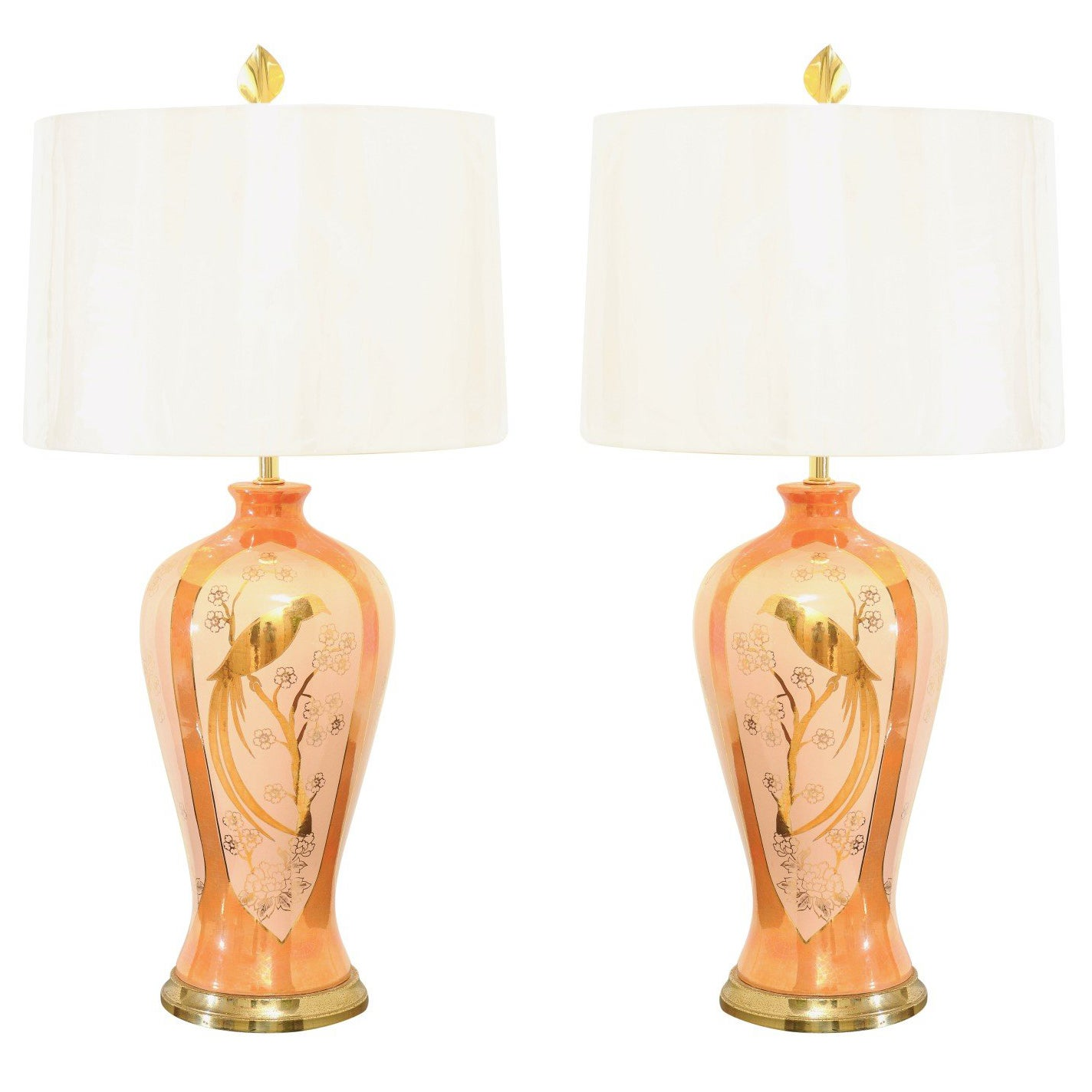 Chic Pair of Porcelain Marbro Lamps in Hermes Orange and Coral, circa 1960