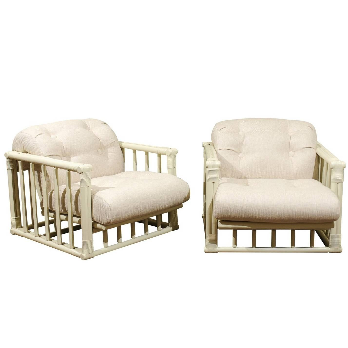 Killer Restored Pair of Rattan and Cane Cube Loungers by Ficks Reed, circa 1970