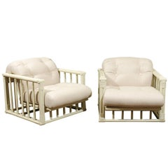 Stylish Restored Pair of Cube Loungers by Ficks Reed, circa 1970