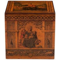 Penwork Italian Tea Caddy with Painted Religious Scenes, 19th Century