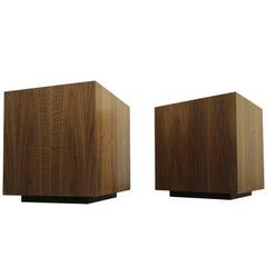 Pair of Mid-Century Walnut Plinth Base Cube Side Tables Stools